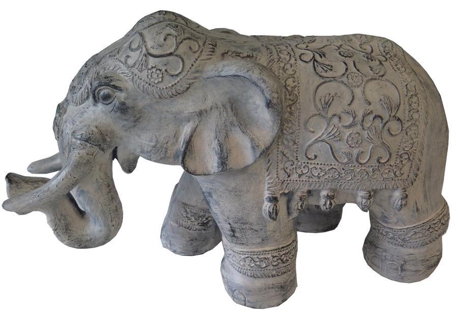 STATUE ELEPHANT GRIS CLAIR