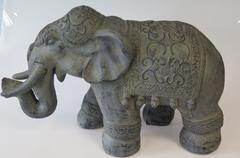 STATUE ELEPHANT GRIS FONCE